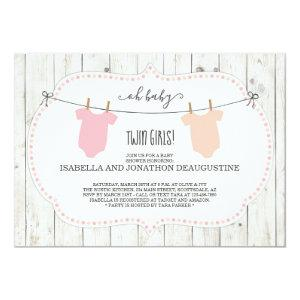 Rustic Baby Shower Invitation for Twin Girls