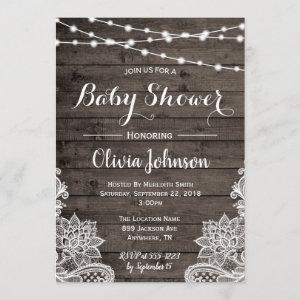 Rustic Baby Shower Invitation with Wood Background