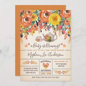 Rustic Baby Shower Tea Party Autumn Fall Flowers
