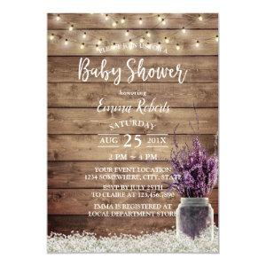 Rustic Baby's Breath Lavender Floral Baby Shower Invitation