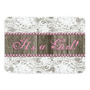 Rustic Barn Wood Pink Pearls and Lace Baby Shower Invitation