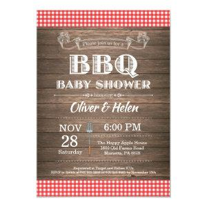 Rustic BBQ Baby Shower Invitation