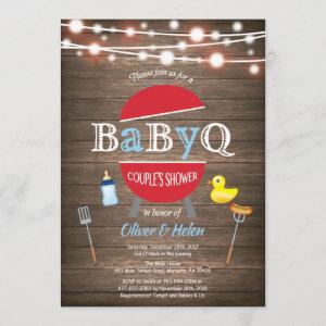 Rustic BBQ Couples Shower Invitation Blue