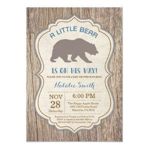 Rustic Bear Baby Shower Invitation Boy