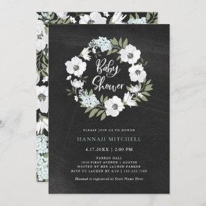 Rustic Black and White Floral | Baby Shower Invitation