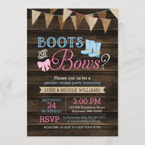 Rustic Boots or Bows Gender Reveal Baby Shower Invitation