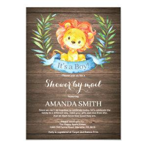 Rustic Boy Lion Baby Shower by Mail Invitation