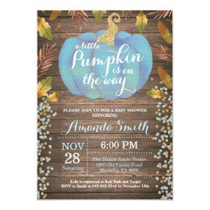 Rustic Boy Pumpkin Fall Baby Shower Gold Glitter Invitation