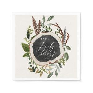 Rustic chalk + wood slice baby shower party napkin