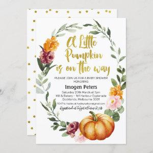 Rustic chic pumpkin floral baby shower