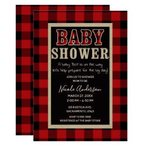 Rustic Country Red Black Buffalo Plaid Baby Shower Invitation