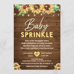 Rustic Country Sunflower Yellow Fall Baby Sprinkle Invitation