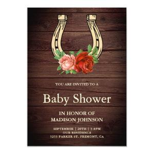 Rustic Country Wood Floral Horseshoe Baby Shower Invitation