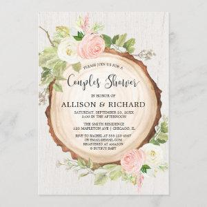 Rustic couples girl baby shower, blush pink floral invitation