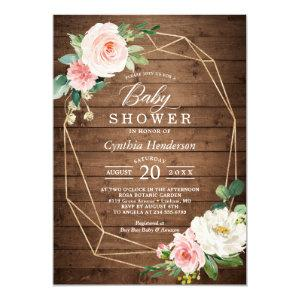 Rustic Cute Geometric Blush Floral Baby Shower Invitation