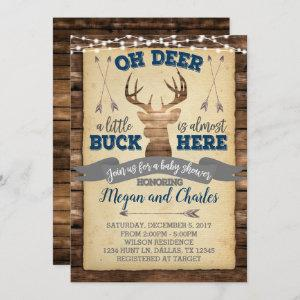 Rustic Deer Baby Shower Invitation Invite