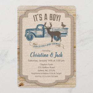 Rustic Deer Truck Boy Baby Shower Invitation