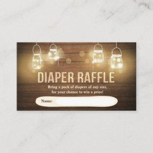 Rustic Diaper Raffle Card Wood lights jars Elegant