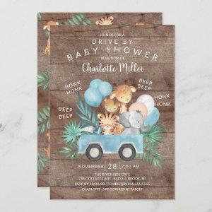 Rustic Drive By Jungle Animals Boys Baby Shower