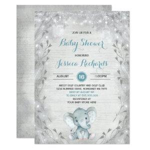 Rustic Elephant Baby Shower Invitation Boy Shower