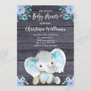 Rustic Elephant Blue Floral Boy Baby Shower Invitation