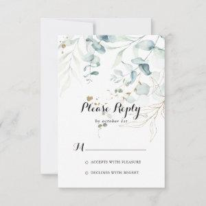 Rustic Eucalyptus Gold Floral Calligraphy RSVP