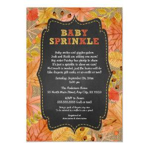 Rustic Fall Leaves Baby Sprinkle / baby shower Invitation