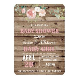 Rustic Floral Baby Girl Baby Shower Invitation