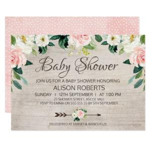 Rustic Floral Boho Baby Shower Invitation