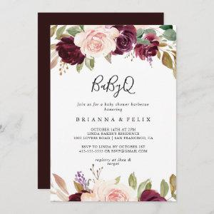 Rustic Floral Botanical BabyQ Baby Shower Barbecue Invitation