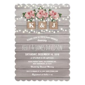 Rustic Floral Couple Baby Shower Invitation