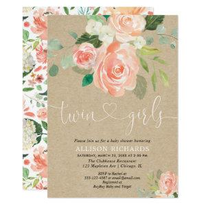 Rustic floral twin girls kraft baby shower invitation