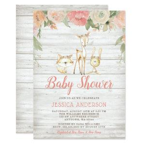 Rustic Floral Woodland Animals Girl Baby Shower Invitation