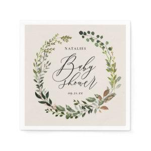 Rustic foliage wreath baby shower party napkins