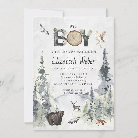 Rustic Forest Woodland Bear Baby Shower Invitation