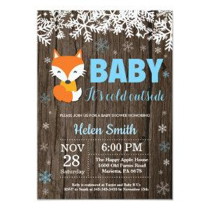 Rustic Fox Winter Boy Baby Shower Invitation