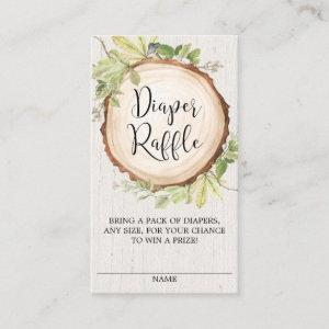 Rustic gender neutral diaper raffle enclosure card