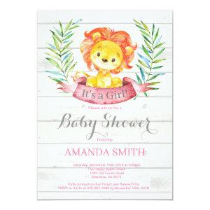 Rustic Girl Lion Baby Shower Invitation Pink