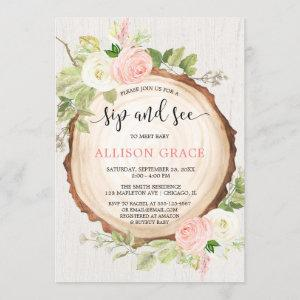 Rustic girl sip and see meet greet woodland shower invitation