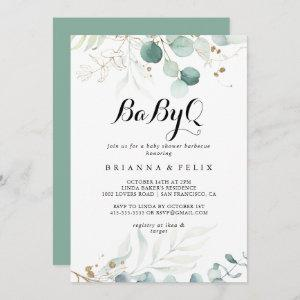 Rustic Gold Floral BabyQ Baby Shower Barbecue Invitation