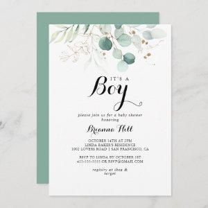Rustic Gold Floral It's A Boy Baby Shower Invitation