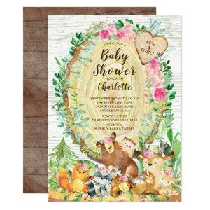Rustic It's A Girl Woodland Animals Baby Shower Invitation