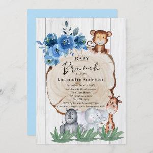 Rustic Jungle Animals Blush Floral Baby Brunch