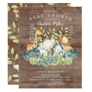 Rustic Jungle Animals Neutral Baby Shower Invitation