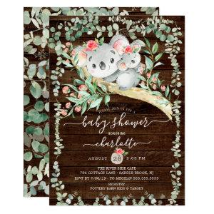 Rustic Koala Bear Girls Baby Shower Invitation