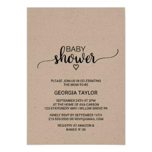 Rustic Kraft Calligraphy Baby Shower Invitation