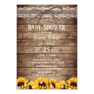 Rustic Lace & Twine Sunflower Floral Baby Shower Invitation