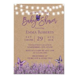 Rustic Lavender Floral Butterfly Kraft Baby Shower Invitation