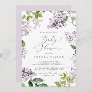Rustic Lilac Baby Shower Invitation