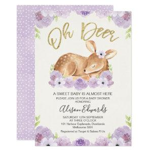 Rustic Lilac Floral Deer Baby Shower Invitation